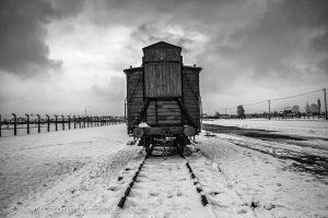 Viehwagon fuer den Transport der Gefangenen an der Judenrampe im Konzentrationslager Birkenau (Auschwitz II) in Auschwitz (Oswiecim, Polen), 26.01.2015.